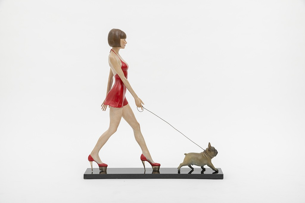 LADY WALKING HER DOG